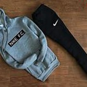 Мужской спортивный костюм Nike F.C. серо чёрный с капюшоном фото