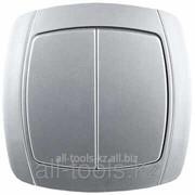 Выключатель Светозар Акцент двухклавишный в сборе, цвет серебристый металлик, 10А/~250В Код:SV-54234-SM фото