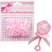 Фигурка декоративная Погремушка розовая 6,5см 6шт фото