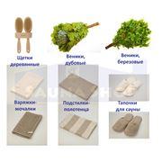 Подстилки полотенца варежки мочалки тапочка для саун и бань. фото