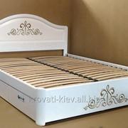 """Двуспальная деревянная белая кровать """"Виктория"""" с резьбой фото"""