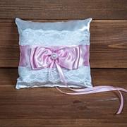 Свадебная подушечка для колец с кружевом (арт. CR-203) фото