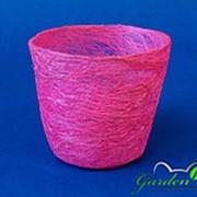 Корзина Круглая 10*12 розовая из сизаля фото