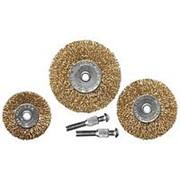 Matrix Набор щеток для дрели, 3 шт, 3 плоские, 50-63-75 мм, со шпильками, металлические Matrix фото
