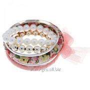 Браслет-кольца 6 колец Джулия , цвет розовый фото