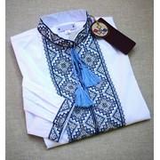 Изысканная белая вышитая рубашка для мужчин (Б-11) фото