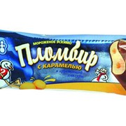 Мороженое Карамелька, пломбир ванильный с карамельным наполнителем в хрустящей глазури, 70 г фото
