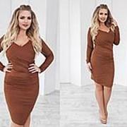 Стильное женское платье коричневое с замша большие размеры (10 цветов) ТК/-01083 фото