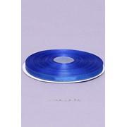 Лента атлас 6 мм с золотом, синий (рул 25 м) фото