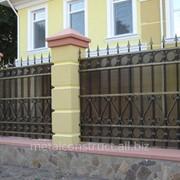 Забор комбинированный с элементами ковки №3 фото