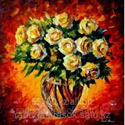 Алмазная мозаика Букет чайных роз 50х50 см фото