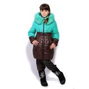 Пальто детское DT-8207 бирюза-шоколад фото