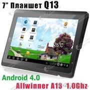 Планшет Q13 с процессором Allwinner A13 c операционной системой Android 4.0 с емкостным 7 дюймовым экраном, с 512 MB оперативной памяти и 4GB для хранения данных фото