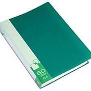Папка с 60 вкладышами Бюрократ, пластик 0,7 мм., зелёная, BPV60 фото