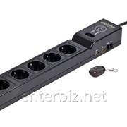 Фильтр питания EnerGenie EG-SP5-TNCU6B-RM 5 розеток, 1,8 м, c дистанционным управлением и защитой телевизионного, телефонного и сетевого сигнала, черный, код 117529 фото