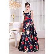 Вечернее платье в модные цветы V860 фото