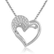 Кулон стильный сердце с бриллиантами I1/G 0,30Сt фото