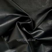 Стрейч-кожа цвет черный, глянцевая фото