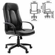 """Кресло для руководителя Brabix """"Trust EX-535"""", экокожа черная, ткань серая фото"""