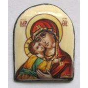 Богородица Владимирская. Финифть. Вставка для ювелирного изделия фото