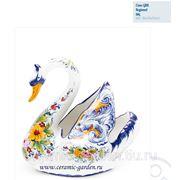 Ваза лебедь большой роспись цветы фото
