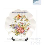 Тарелка фигурная с узором роза 43 см фото