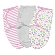 Конверт Summer Infant Конверт на липучке Swaddleme®, размер S/M, (3шт.), слоны/серый/розовый фото
