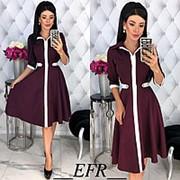 Платье женское с контрастной отделкой - Бордовый фото