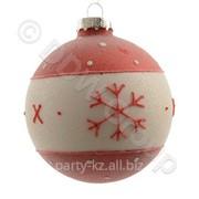 Декор Шар стекл. красн,бел со снежинкой фото