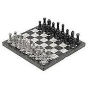 Шахматы из мрамора и змеевика 44х44 см фото