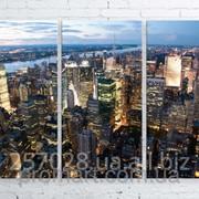 Модульна картина на полотні Нью-Йорк. Вечір код КМ100150-074 фото