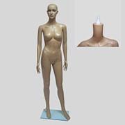 Манекен для одежды женский ростовой телесный пластиковый, стоячий, со съемной головой. 904 фото
