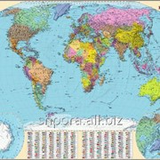 Політична карта світу (ламінація + планки) фото