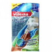 Перчатки Vileda Комфорт с кремом для чувствительной кожи рук, размер M фото