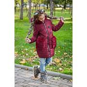 Куртка для девочек с меховыми карманами (5 цветов) - Бордовый KL/-315 фото