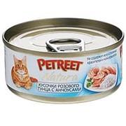 Petreet 70г конс. Влажный корм для взрослых кошек Кусочки розового тунца с анчоусами фото