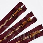 Молния металлическая, №5, бордо (золото) - 35 см фото