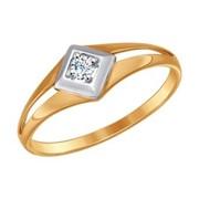 Кольцо из золота с фианитом (017199) фото