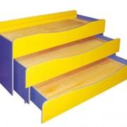 Кровать детская 3-ярусная без матраца, 1536х656х920 фото