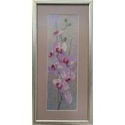 Картина Орхидеи, ручная работа, вышивка. фото