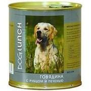 Dog Lunch 750г конс. Влажный корм для взрослых собак Говядина с рубцом и печенью в желе фото