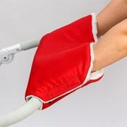 Муфта на ручку коляски, цвет красный фото