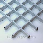 Потолок грильято белый матовый 100*100*40 фото