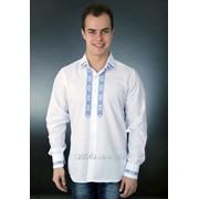 Безупречная классическая вышитая рубашка для мужчин с синим орнаментом (УМД-0003) фото