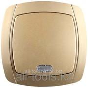 Выключатель Светозар Акцент одноклавишный в сборе, с подсветкой, цвет золотой металлик, 10А/~250В Код:SV-54231-GM фото