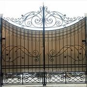 Ворота с калиткой узорные №32 фото