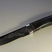 Нож кованый НС-07А гравировка, рукоять вставки из алюминия (Златоуст) фото