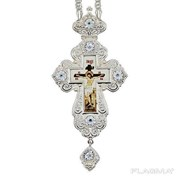Крест для священнослужителя из ювелирного сплава в серебрении с цепью 2.10.0214л-2-1л фото