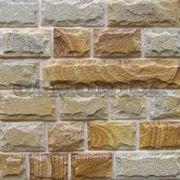 Плитка из натурального камня песчаника желтого с заколом скоба 100 мм фото
