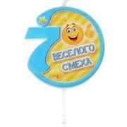 """Свеча в торт цифра """"7"""" """"Весёлого смеха"""" 5,5 х 5,5 см фото"""